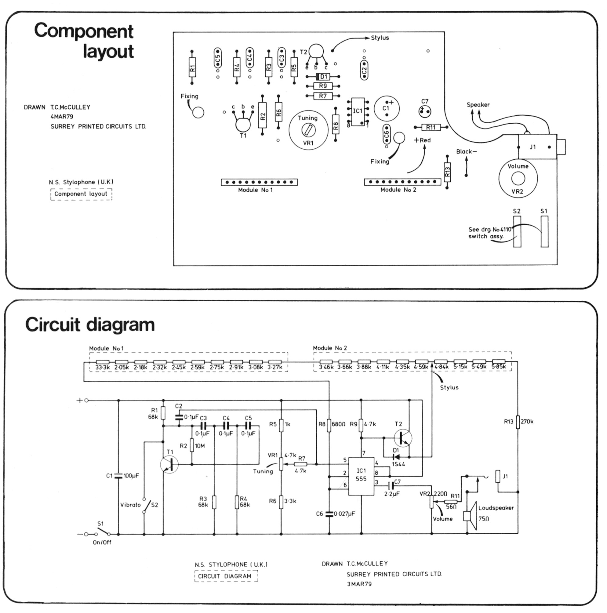Stylophones Music Electronics Chicago Three Way Wiring Diagram Layout And Circuit
