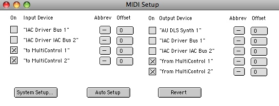 MIDI setup window