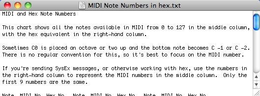 MIDI Note numbers in hex