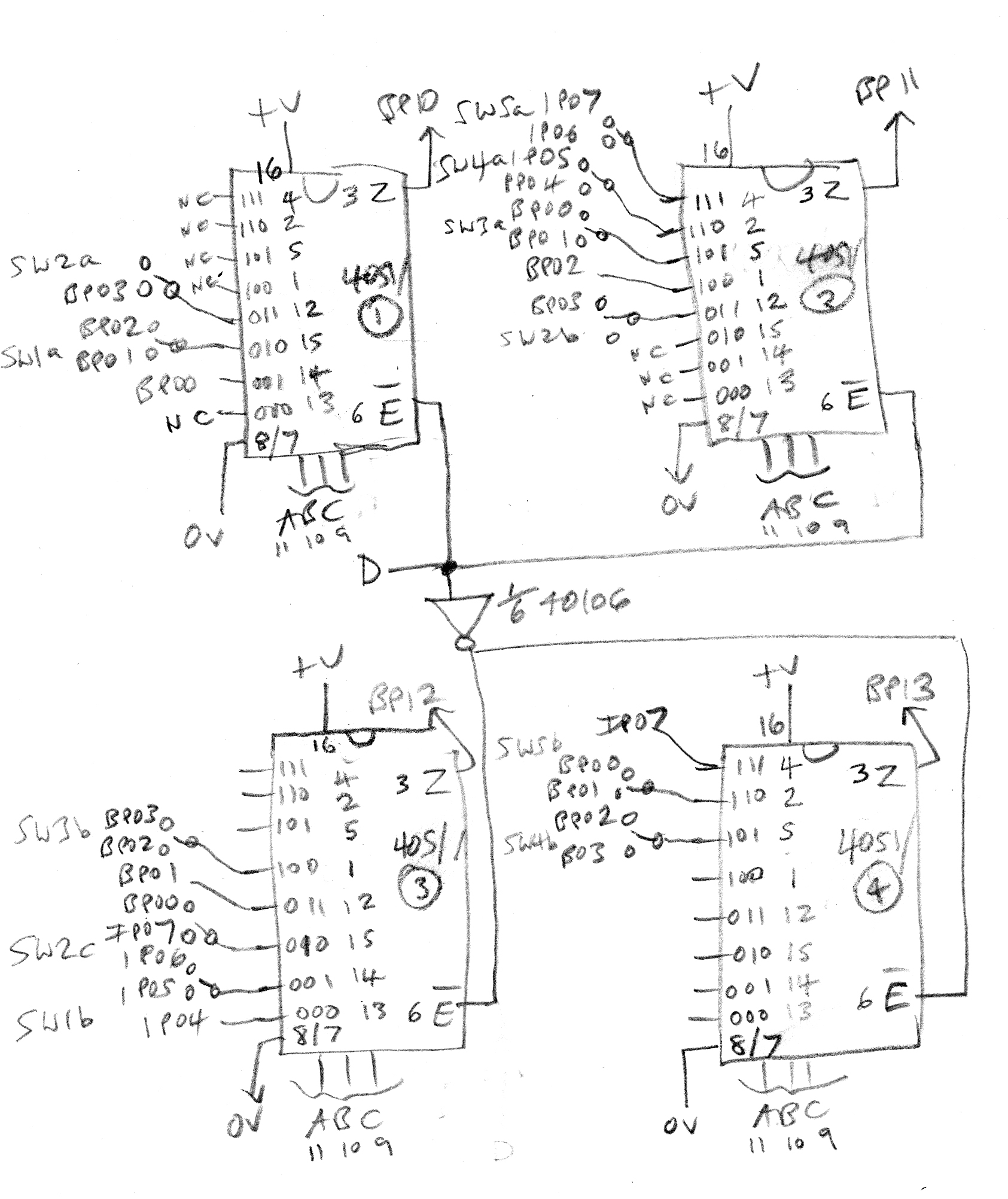 Circuit Bending Music Electronics Sound Effects Generator 2 Diagrams The Lower 8 Notes Are Divided Between Top Two 4051s In Diagram Which Work Together With No Overlap And Higher