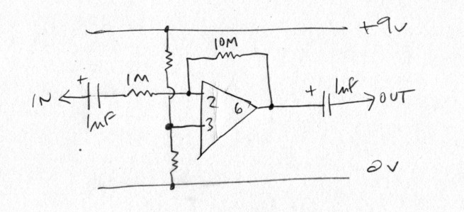 Contact mic preamp circuit